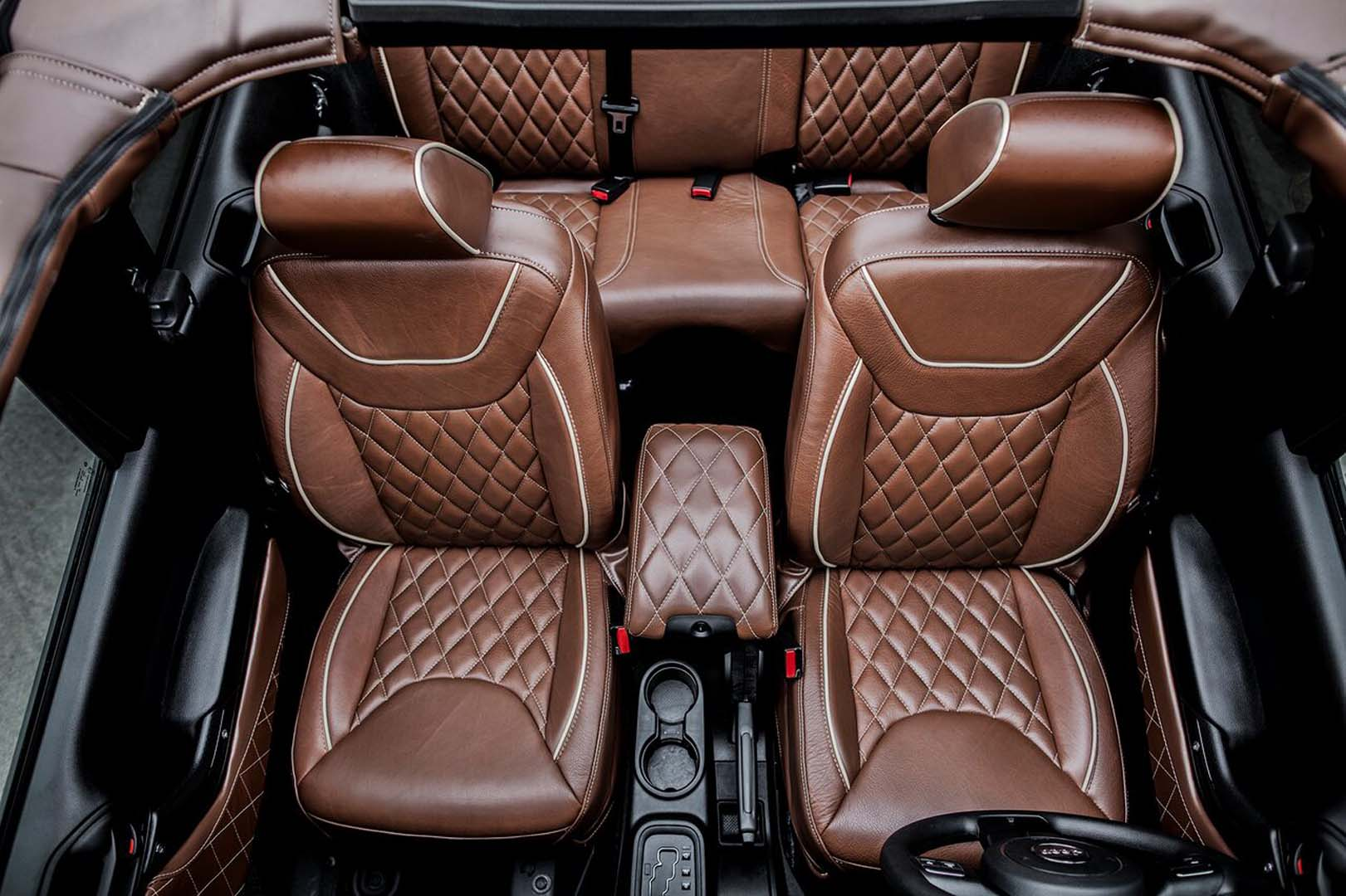 King Ranch Leather Custom Jeep Interior With Tan Piping Jeep Customization Houston Tx American Custom Jeep
